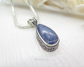 Vintage Kyanite Sterling Silver Pendant and Chain