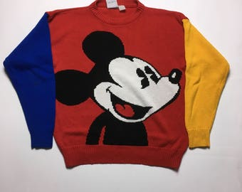 Vintage Mickey Mouse Sweater -Vintage Knit Sweater - Mickey Mouse Knit Sweater - 90s Mickey Sweater - Mickey Sweater - Mickey Mouse Sweater