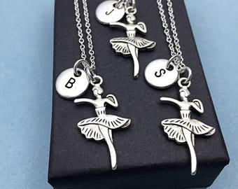 SALE,3 Matching Dance necklaces, dancer necklace, dance charm, best friend for 3, personalized, initial necklace charm,friendship jewelry,gi