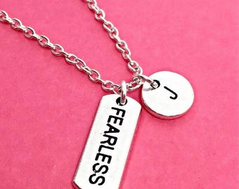 """Silver """"FEARLESS"""" Necklace. Sale. Word Tag, Be Fearless Jewelry, Fearless, Fearless Charm Pendant,Inspire Necklace,Motivational, Fox Charm"""