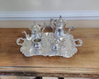 Antique Leonard Silver Plated Tea Service Set 5 Piece Elegant Ornate Pattern