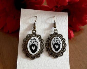 Tiny Heart cammeo earrings