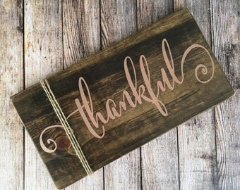 Fall Rustic Sign - Thankful