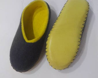 Felted Slippers Woolen Slippers Women Slippers Yellow Slippers Vegan Slippers Eco Slippers Warm Slippers Winter Slippers Organic Slippers