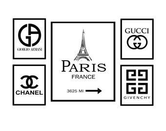 Armani Chanel Givenchy Gucci Logo, Paris Coco Chanel, Chanel Logo, Armani Logo, Gucci Logo, Givenchy Logo, Printable Download, CC