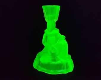 NEW LISTING Lovely Art Deco Walther and Sohne Pierot Uranium Green Part Frosted Glass Candlestick
