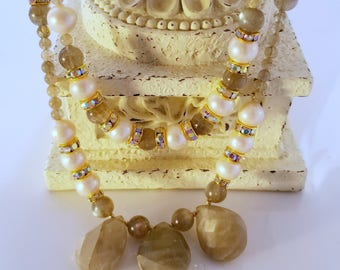 Studio Made Labradorite Pearls One-of-a-Kind Double Two Strand Necklace Unique Gift Studio Offerings