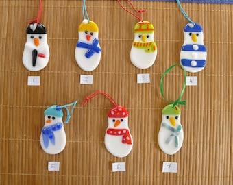 Handmade Fused Glass Snowmen for the Christmas Tree