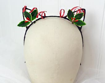 christmas cat ears headband, meowy christmas, christmas headband for girls, holiday headbands, tacky christmas sweater party, holly headband