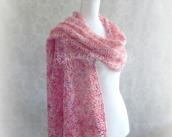 Pink Women's wrap, Crochet shawl, Beaded shawl, Wedding shawl, Ladies Shawl, long rectangle shawl, Purple shawl, Mother of the bride