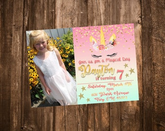 Customized Girls Sparkly Gold Pink and Blue Unicorn Face Birthday Invitation --  Digital File -- PDF JPEG