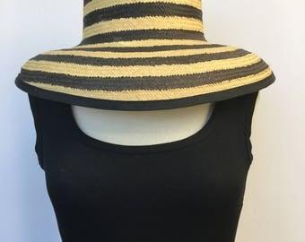 Straw Hat with Fun Bold Stripes