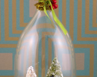 Handmade cloche/diorama Christmas ornament, sweet couple and Christmas trees.