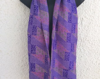 Long double sided scarf handmade from a vintage silk sari,  many colours to choose from