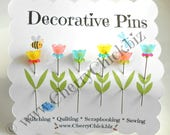 Decorative Sewing Pins - Pin Toppers - Gift for Quilters - Sewing Pins - Fancy Pins - Scrapbooking Pins - Quilting Pins -  Pincushion Pins