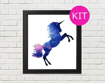 Unicorn Cross Stitch Kit, Galaxy Cross Stitch Kit, Modern xstitch Kit, Fantasy Cross Stitch Kit, Counted Cross Stitch Pattern, Embroidery