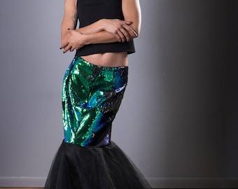 Mermaid Skirt, Mermaid Scales, Formal Mermaid, Blue & Green Mermaid, Mermaid sequins, Formal skirt, Black Tulle Two-Tone Skirt, maxi skirt