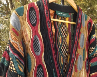 Coogi Style Cardigan Rare Offbrand Coogi Sweater Tundra Brand Size Large - XL Vintage Cosby Sweater Dad Sweater Cardigan Mens Oversized 90s