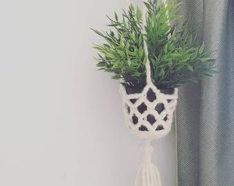 Crocheted Macrame Plant Hanger, Handmade Boho Home Decor