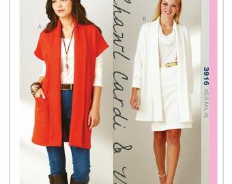 Sewing Pattern for Misses' Shawl Collar Cardigan & Vest, Kwik Sew Pattern 3916, Open Front Drape Jacket + Vest Pattern, Womens Sew Pattern