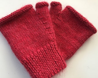 Luxury hand knitted fingerless mitts - size S/M