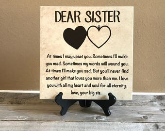 Decorative Tile, Gift for Sister, Birthday Day Gifts, Christmas Gifts,  Personalized Gifts, Gifts for Her, Housewarmig Gift, Sister Gifts