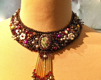 Choker necklace embroidered beads and onyx cabochon