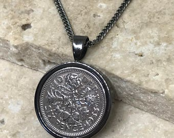 1953 65th Lucky sixpence coin pendant necklace gunmetal plated