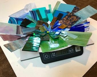 mosaic, tiles, Premium, STAINED, SCRAP, GLASS, 1+1/2 pounds, hand cut, color blend, Blue, Green, Purple, Aqua, Mix, Special Palette, Lot #4