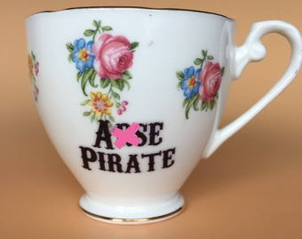 A*se Pirate | Ready To Buy Swear Teacup | Funny Rude Insult Obscenity Profanity | Unique Gift Idea
