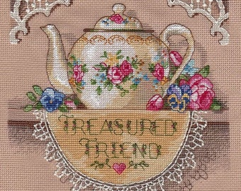 Vintage Finished Cross Stitch Picture Treasured Friend Teapot. Completed Cross Stitch. Hand Embroidery. Home Decor. Wall decor. Gift for Mom