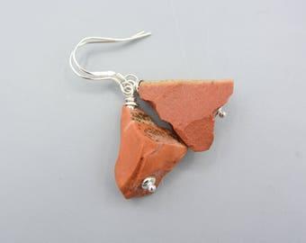 Red Jasper Earrings, rough Earrings,  dangle Earrings, raw Jasper Earrings, 925 Silver