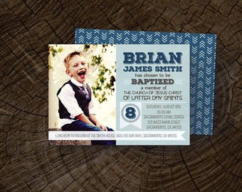 """LDS Baptism Invitation (Boy) """"It's great to be 8"""" Invite"""
