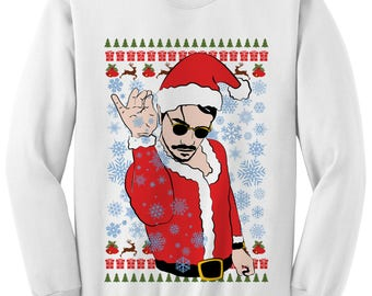 Christmas Sweater Salt Bae Santa Ugly Sweater Ladies Tops Mens Fashions Christmas Party Outfit Funny #SaltBae Funny Gift Ideas Under 30