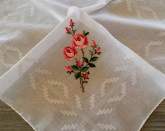 Handkerchief With Pink Roses, Embroidered Hankie, Vintage Wedding Hankerchief