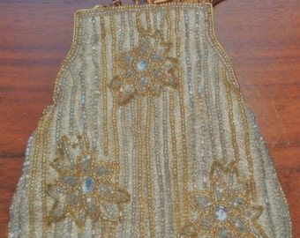 Gold and Silver Beaded Evening Purse by Elan, Formal, Prom, Wedding