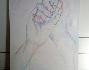 Hands, Original Art, Original Canvas painting, Hand painting, Hand art, Body Art, Canvas art, hands canvas art, original artwork, wall art