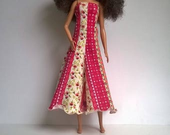 Wide dress for tall Barbie in red / orange / yellow patterned fabric