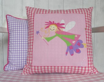 Pink Fairy Cushion, Tooth Fairy Pillow, Personalised Children's Cushion, Girl's Custom Gift,  Pink Fairy Bedroom Decor, Fairy Throw Pillow