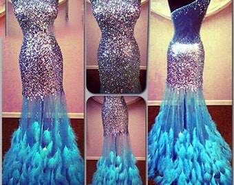Stunning Sequined Crystal Feather Prom / Evening Dress with See Through Skirt
