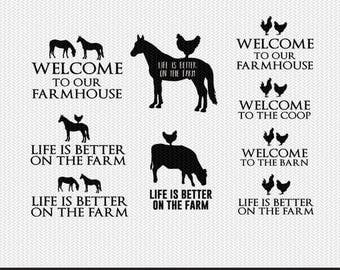 farm animals collection over 50+ files svg dxf file instant download stencil silhouette cameo cricut clip art animals commercial use