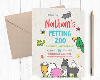 Petting Zoo Birthday Invitation, Petting Zoo Invitations, Petting Zoo Birthday Party, Petting Zoo invites, Petting Zoo themed,  farm invite