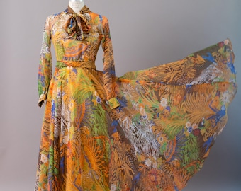 Vintage 1970s designer Don Luis de España, Don Luis of Spain autumn tropics printed organza chiffon maxi dress gown