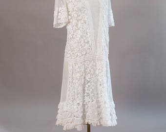 Antique Flapper 1920s dress for Rustic Wedding with Guipure lace overlay and drop waist