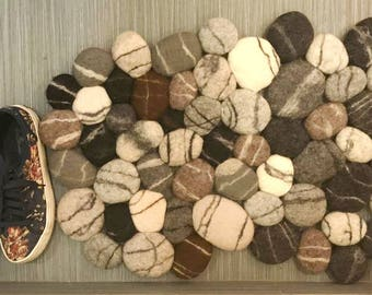 Felt stone rug , Felt carpet , Felted wool stone , Felt Stone Rug Bath Mat , Floor Rug , Felt carpet soft pebbles , Home decor