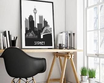 Sydney silhouette print, Sydney art, Silhouette art, black and white silhouette art, Sydney skyline, instant download art
