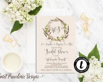 Bridal Shower Invitation, Printable Shower Invite, Rustic Bridal Shower Invite, Cotton Boll Wedding Invitation, EDITABLE Instant Download