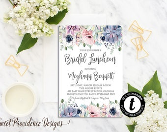 Bridal Luncheon Invitation, Succulent Floral Bridal Shower Invitation, Watercolor Invitation, EDITABLE Instant Download, Templett