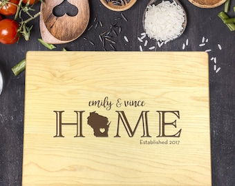 New Home Gift, Personalized Cutting Board, Gift for Couple, Gift for Her, Gift for Him, Home Sweet Home Gift, Last Name Gift, B-0027 Rec