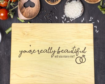 Personalized Cutting Board, Engraved Cutting Board, Custom Cutting Board, Wedding Gift, Wedding Proposal, Gift for Him, Gift for Her, B-0104